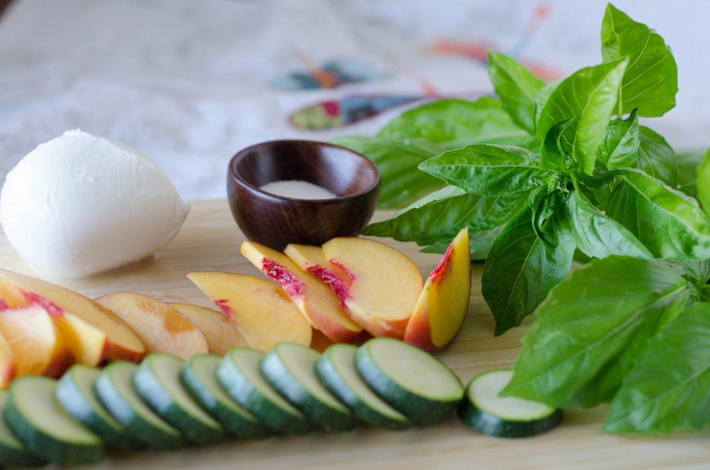 peach zucchini basil pizza ingredients