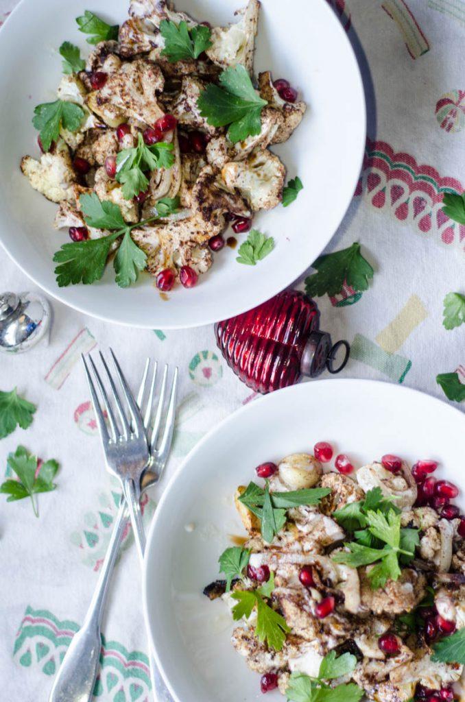 Roasted Cauliflower with Tahini Sauce and Pomegranate Seeds