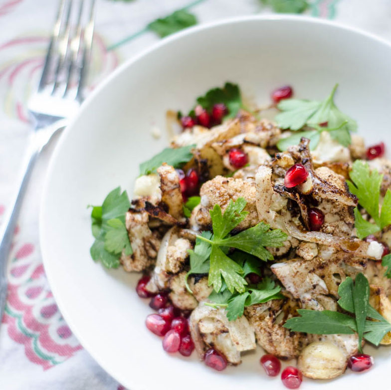 Roasted Cauliflower with Tahini Sauce and Pomegranate Seeds - Hello ...