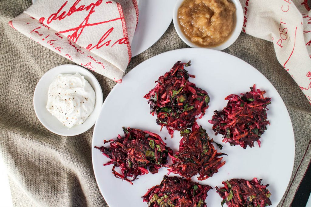 Beet and potato latkes