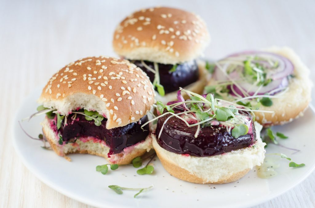 Beet Sliders with Green Goddess Dressing