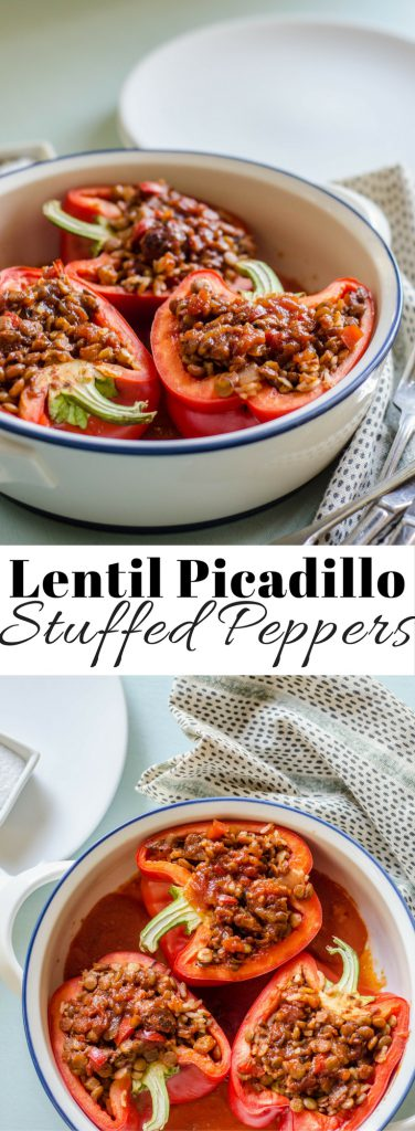 Lentil Picadillo Stuffed Pepper