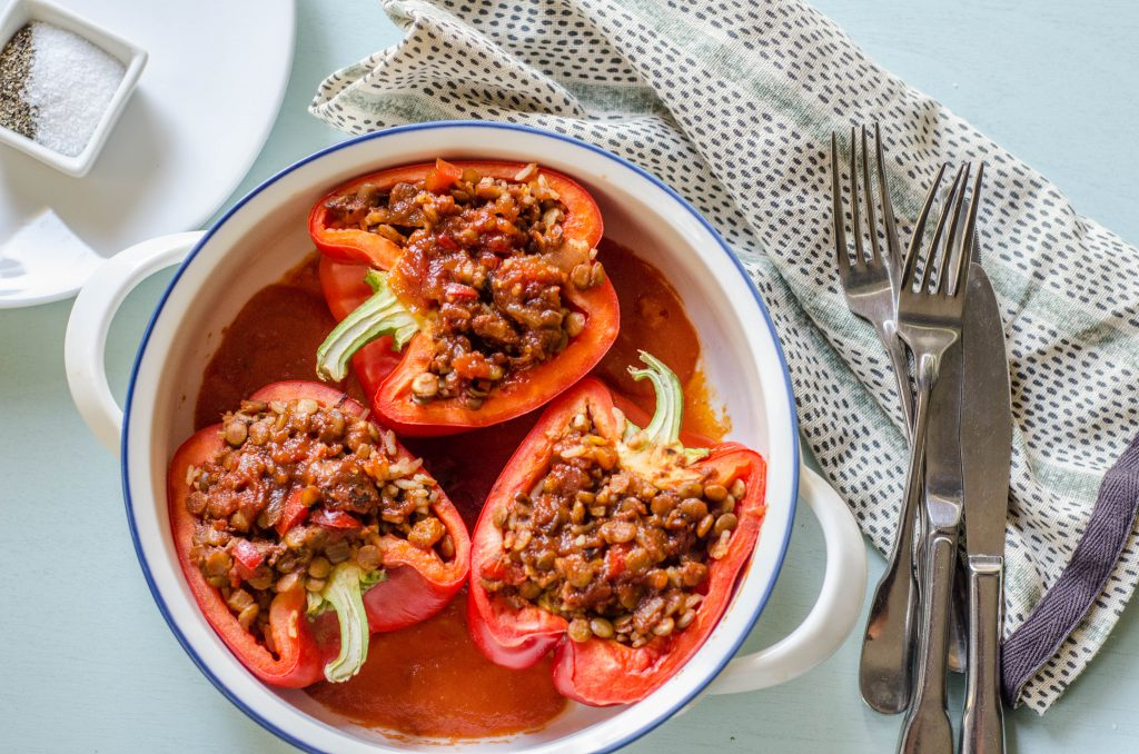 Lentil Picadillo Stuffed Peppers