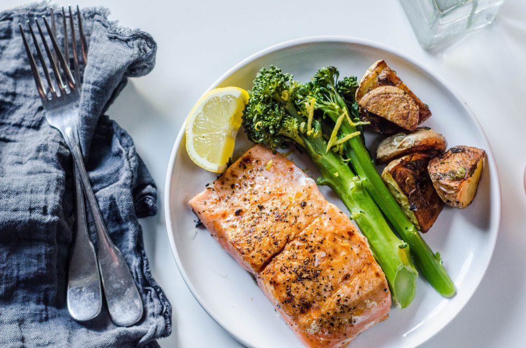 Pan-seared Salmon on a plate