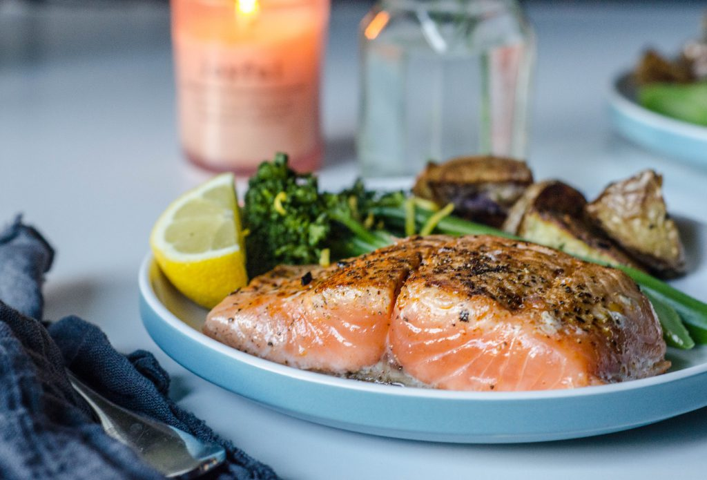 Pan-seared Salmon close-up