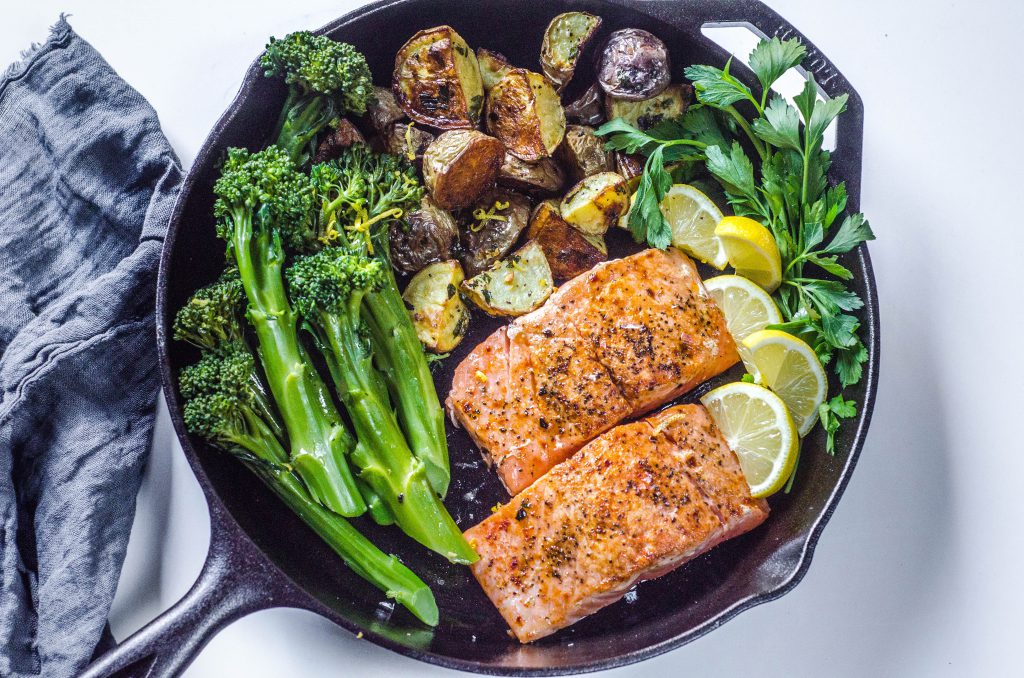 Pan-seared Salmon in skillet