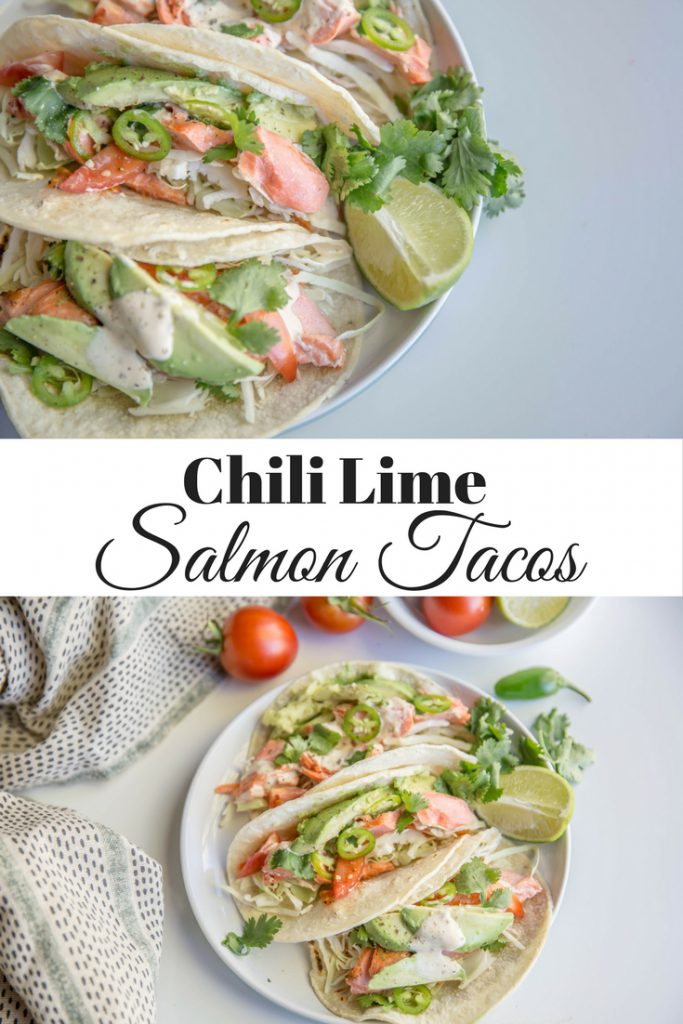 Long vertical image of chili lime tacos with words overlaid for Pinterest