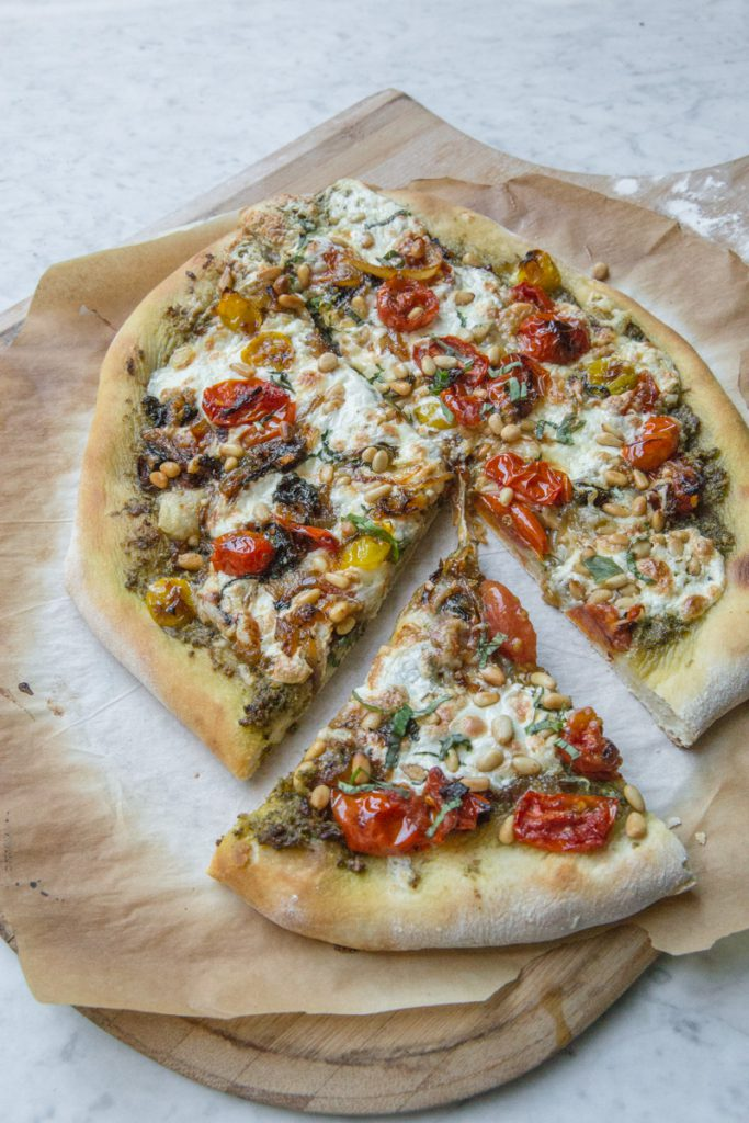 Pesto Pizza with Burrata and Caramelized Onions-7