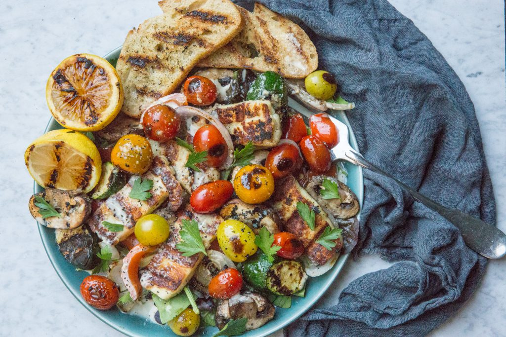 Halloumi and Grilled Veggie Salad