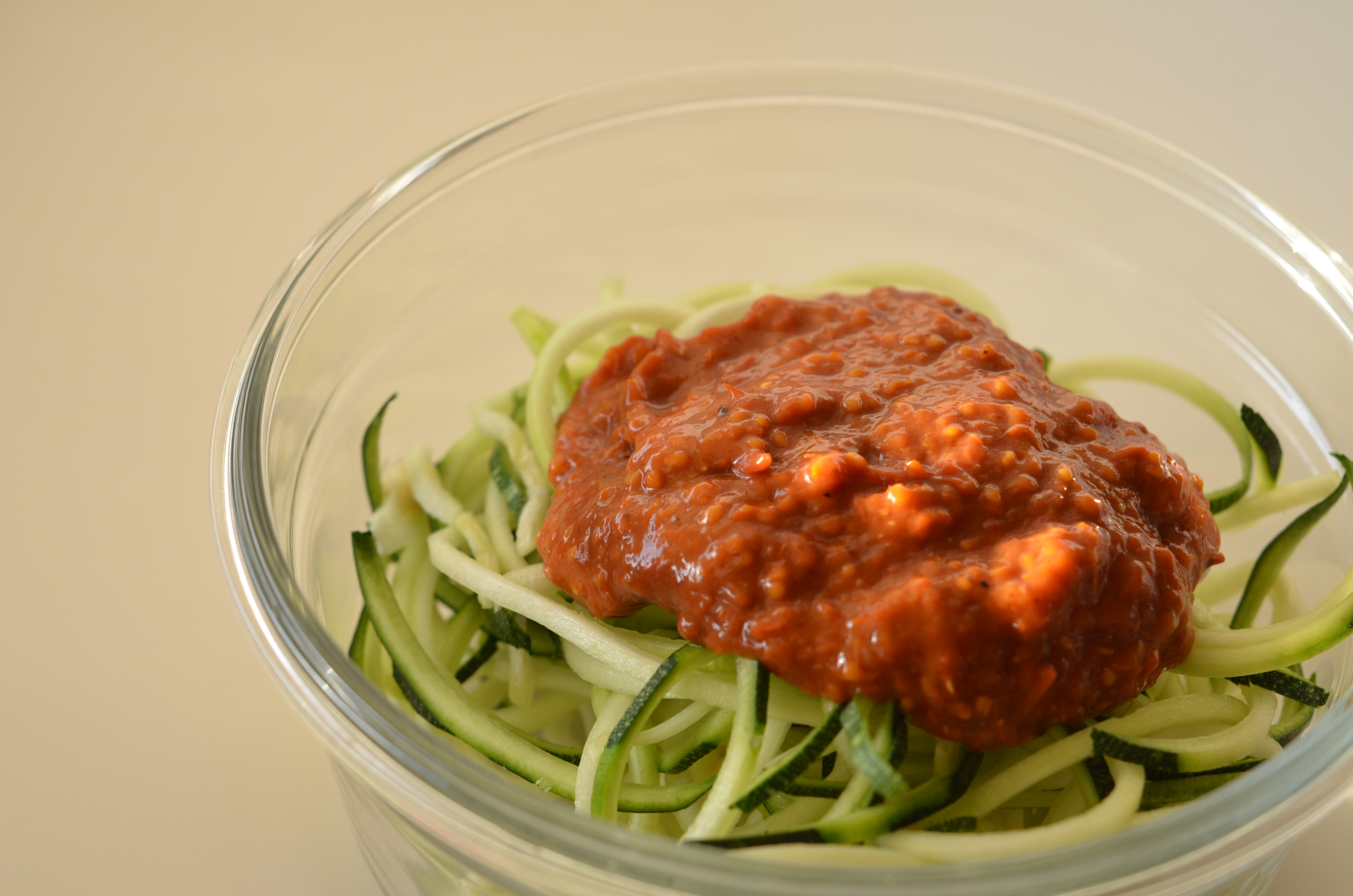 Zoodles with tomato sauce