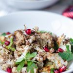 Roasted Cauliflower with Tahini Sauce and Pomegranate Seeds