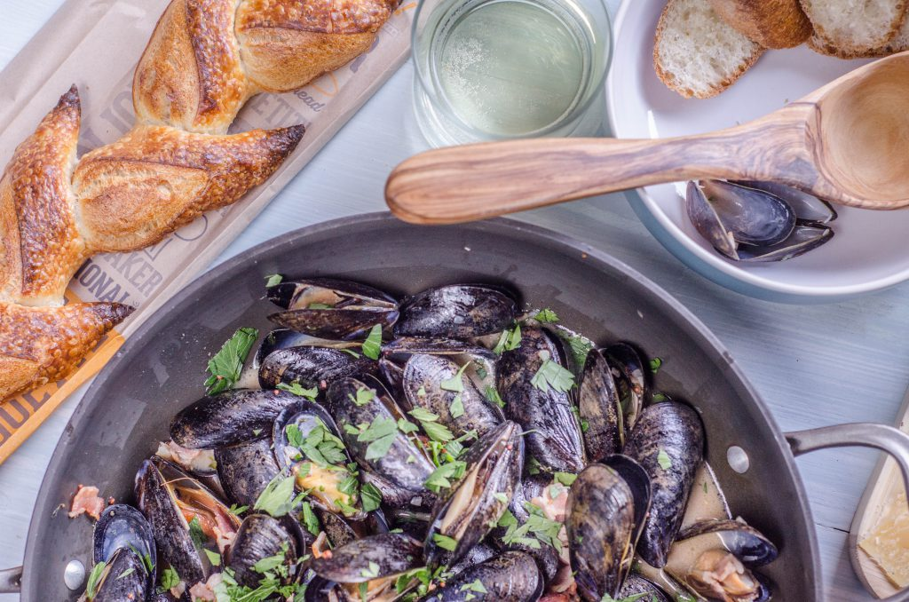 Mussels with Cider Shallots and Bacon-2