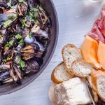 Mussels with Cider, Shallots, and Bacon