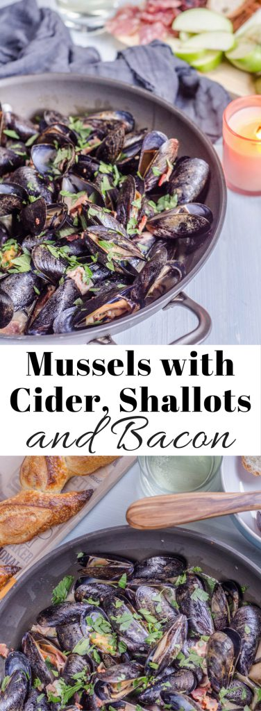 Mussels with Cider, Shallots, and Bacon Pin