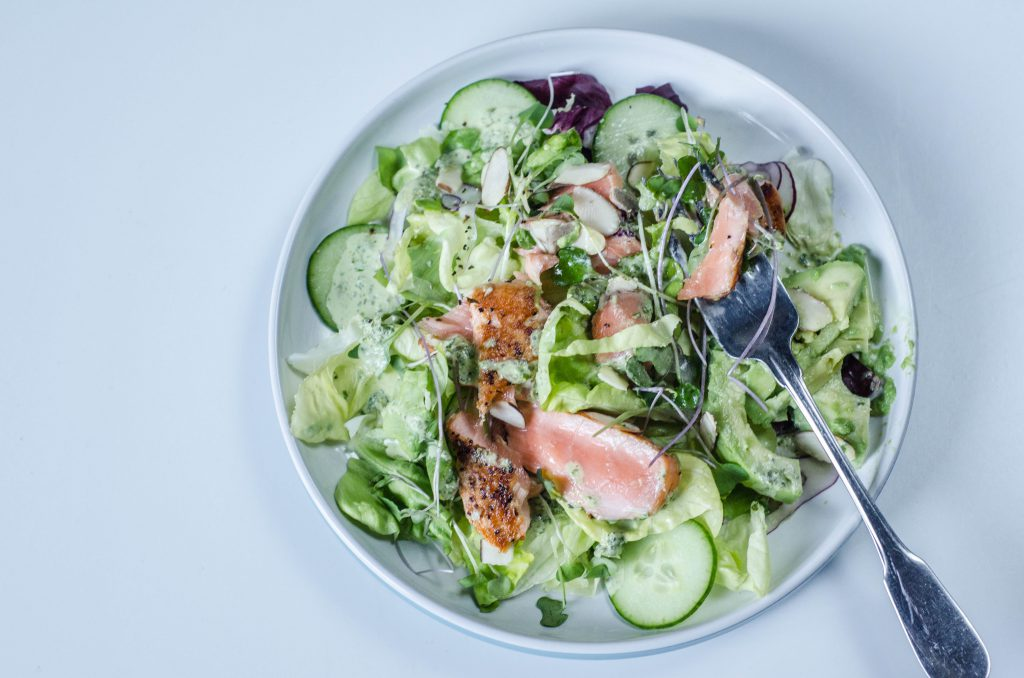 Salmon Salad with Avocado single plate