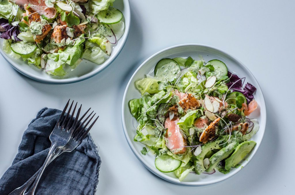 Salmon Salad with Avocado overhead shot