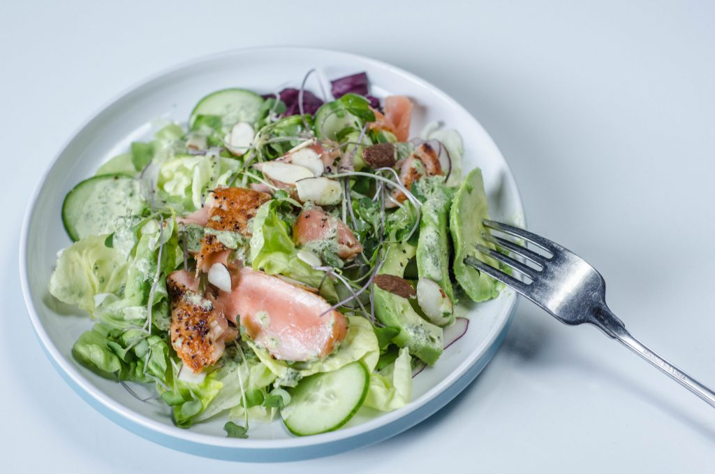 Salmon Salad with Avocado side view