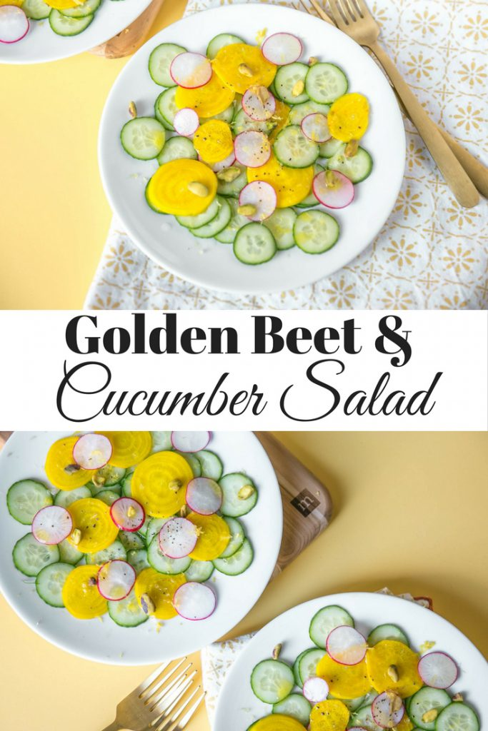 Golden Beet and Cucumber long vertical image for Pinterest