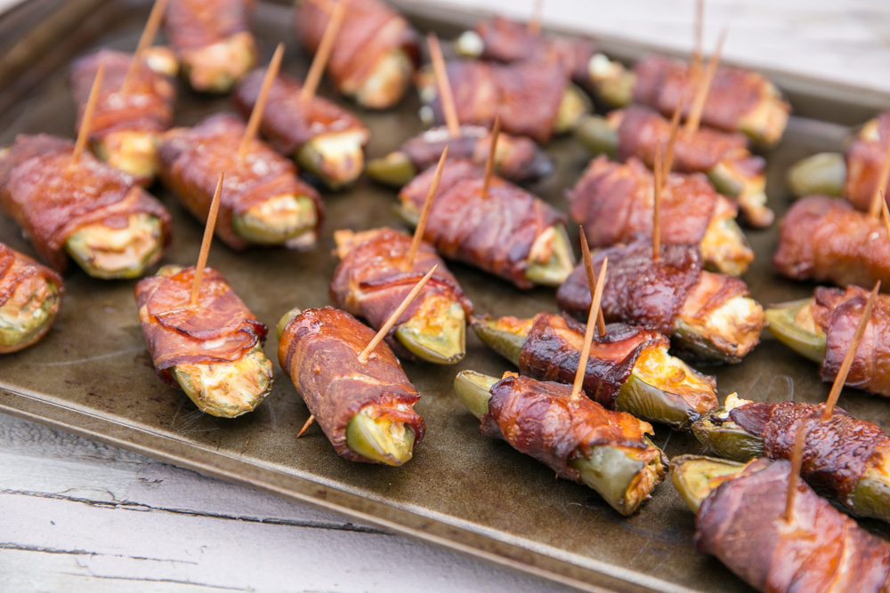 Smoky Sweet Jalapeno Poppers with Mango on a sheet pan