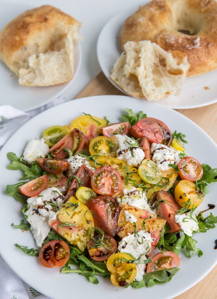 Vertical image of Burrata Caprese Salad